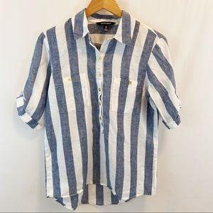 Ellen Tracy 100% Linen Blue Striped Tunic Top S